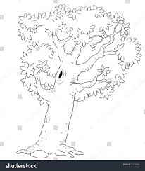 four seasons summer tree coloring page stock illustration