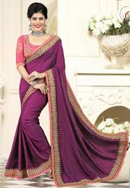 Buy Violet Embroidered Art Silk Art Silk Sarees Designer Art Silk Sarees Online Shopping