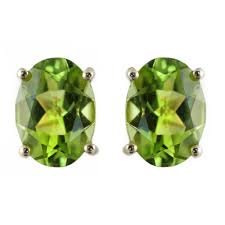 peridot stud earrings 9ct yellow gold 8x6mm oval peridot stud earrings jewellery from