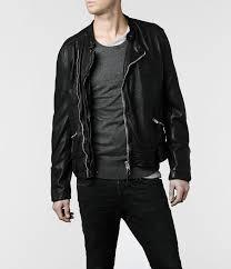 leather biker jacket allsaints griff leather biker jacket in black for men lyst