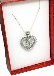 heart chain necklace silver images Women sterling silver 925 heart with cz pendant and 18 box chain jpg