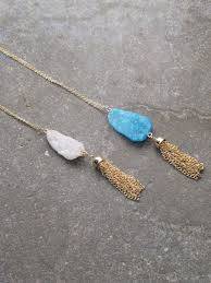 crystal necklace stone images Stone long raw cut crystal necklace bobbles and lace jpg