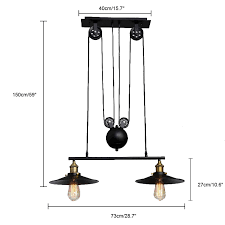 Linear Chandelier With Shade Classic Black Finished 2 Light Linear Chandelier With Saucer Shade