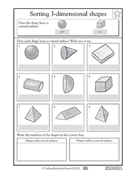 2nd grade 3rd grade math worksheets finding curved surfaces