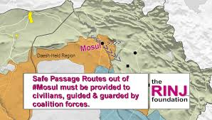 the rinj foundation urging safe pasage routes from mosul to safe