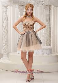 quince dama dresses leopard print mini length tulle cocktail dama dresses party dresses