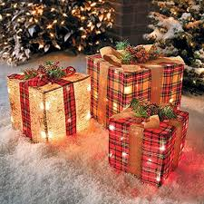 indoor lighted gift boxes the 3 plaid gift boxes outdoor indoor lighted christmas yard art