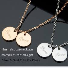 Mom Necklace With Kids Names Aliexpress Com Buy Two Disc Engraved Name Necklace Solid Silver