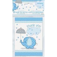 amazon com blue elephant boy baby shower thank you cards 8ct
