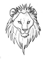 simple lion head line drawing