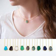 gem stone necklace images Gemstone slice pendant necklace raw emerald necklace may jpg