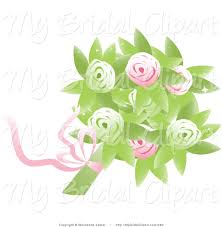 wedding flowers clipart bridal clipart of a bridal bouquet of pink and green roses and
