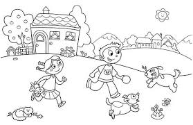 playing friends pets summertime holiday coloring