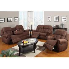 Microfiber Reclining Sofa Decor Nantes 3 Pieces Brown Microfiber Reclining Sofa