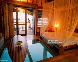 overwater bungalow 207 hotel le meridien bora bora stock photo