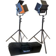 led studio lighting kit bescor al 576kb led studio 2 light battery kit al 576kb b h