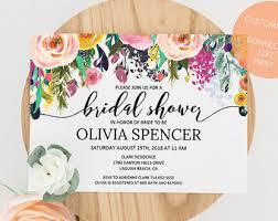 custom bridal shower invitations floral shower invite etsy