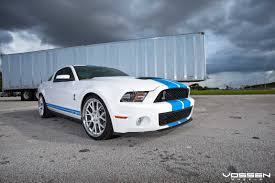white mustang blue stripes unique look of tuned white ford mustang shelby with blue stripes