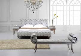 Bedroom Furniture Contemporary Silver Modern Bed With Crystals Vg Monica Contemporary Bedroom