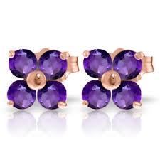 amethyst stud earrings 14k gold stud earrings with amethyst
