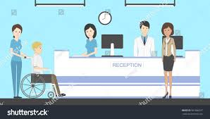 reception hospital patients waiting room disabled stock vector