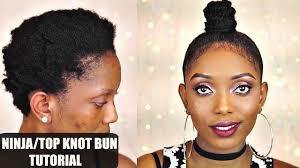 how to ninja top knot bun tutorial on short 4c natural hair collab