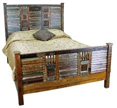 Distressed Wood Headboard Fantastic Rustic Distressed King Bed Frame With Shutter Foot And