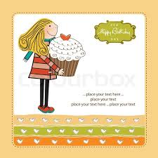 happy birthday card with and cupcake stock vector colourbox