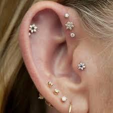 flat back earrings 62 jewelry cartilage flower flat back earrings