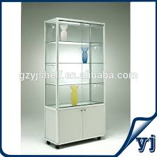 glass tall cabinet for retail store glass cabinet with lights