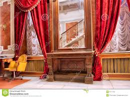 Red Curtains Living Room Luxury Room With Red Curtains N Mirror Stock Photography Image