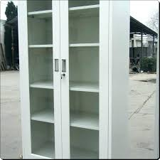 Metal Bookcase With Glass Doors Metal Bookcase With Doors Made Walnut Steel Bookcase By