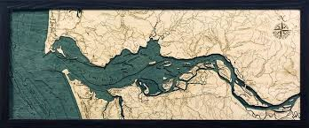 custom wood charts of the columbia river from carved lake