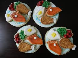 cookie plates filled with thanksgiving cookie dinner cookie