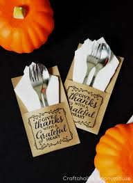 thanksgiving free printable quote utensil holder kraft paper