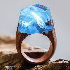 jewelry wooden rings images Handcrafted wood resin rings hide magical miniature landscapes jpg