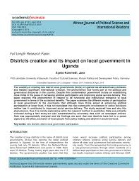 districts creation and its impact on local government in uganda