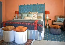 architecture moroccan bedroom with pouf ottoman and vintage