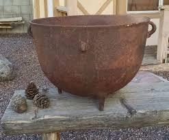 large antique cast iron cauldron pot signed great for garden