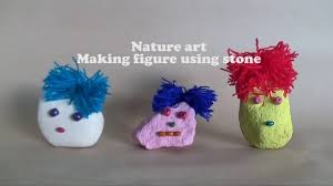 nature art making figure using rock art and craft for children