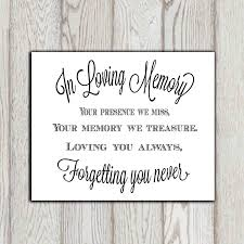 wedding quotes indonesia in loving memory of print memorial table wedding memorial sign
