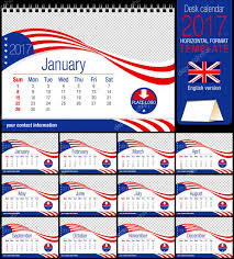 desk triangle usa flag calendar 2017 template size 210mm x 150mm