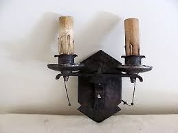 Electric Candle Sconce Vintage Antique Black Cast Iron Double Electric Candle Wall Sconce