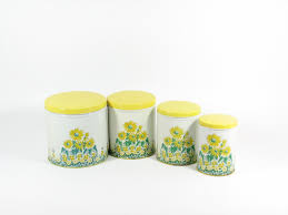 vintage canister set yellow sunflowers kitchen by 4thstreetmarket