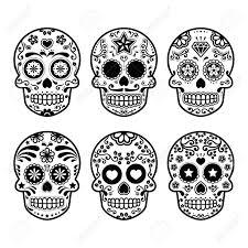 halloween background sugar skulls mexican sugar skull dia de los muertos icons set royalty free