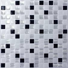 vinyl mosaic tiles black white mix self adhesive ds33387