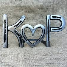 personalized horseshoe set personalized horseshoe heart sign country wedding or anniversary