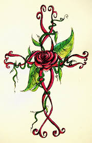 breast cancer ribbon cross tattoo design by shellshooking on