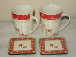 2 x spode tree jubilee 14 oz conical mugs 2 coasters