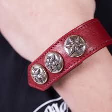 leather star bracelet images Chrome hearts red silver five point star leather one size bracelet jpg